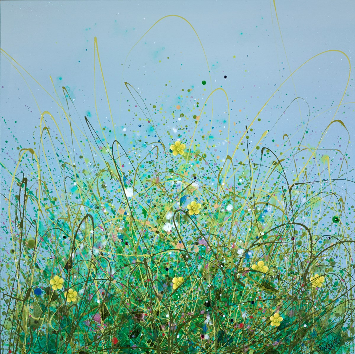 Buttercups in Spring by jennifer hogwood -  sized 32x32 inches. Available from Whitewall Galleries